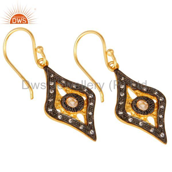 Exporter Traditional Handmade Design White Zirconia Brass Earrings With 18k Gold Plated