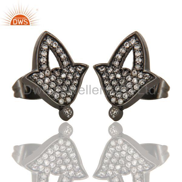 Exporter Black Oxidized Fashion Lilghting Look White Zirconia Brass Studs Earrings