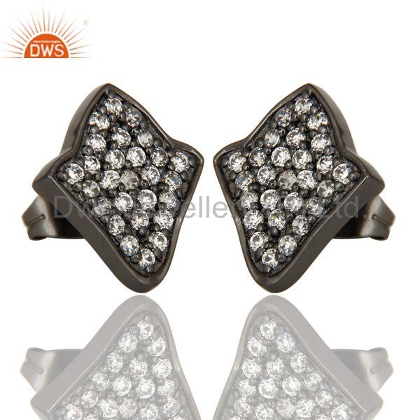 Exporter Black Oxidized Fashion Lighting Style White Zirconia Brass Stud Earrings