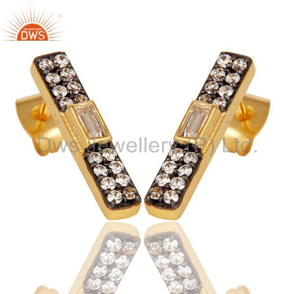 Exporter White Zircon Gold Plated Brass Fashion Stud Earrings Manufacturers