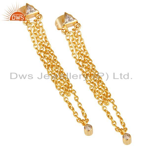 Exporter White Zirconia Fashion Link Chain Brass Drops Earrings With 18k Gold Plated