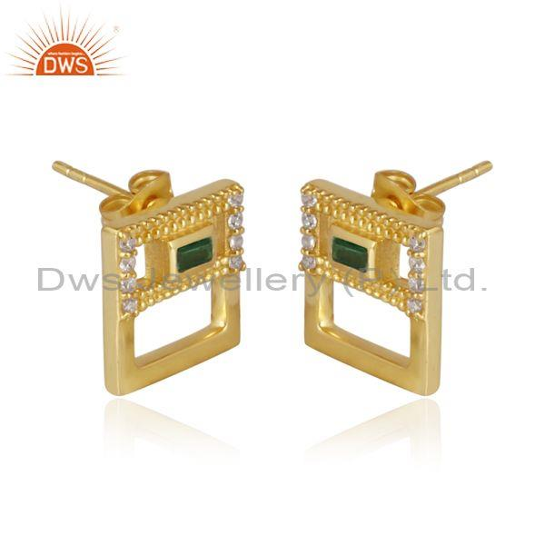 Zircon green and cz set square brass gold statement earrings