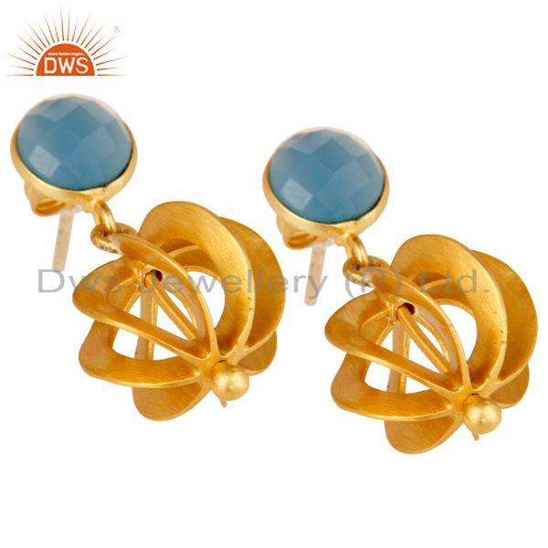 Exporter Blue Chalcedony Gemstone Gold Plated Brass Fashion Earrings Jewelry