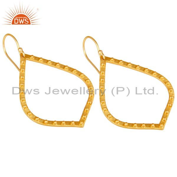 Exporter Traditional Handmade Classic Design 22k Gold Plated Brass Drops Earrings