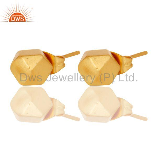 Exporter 18k Gold Plated Traditional Handmade Beautiful Charm Brass Studs Earrings