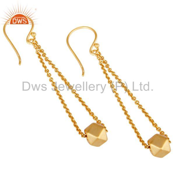 Exporter 18k Yellow Gold Plated Handmade Classic Fashion Chain Link Brass Dangle Earrings