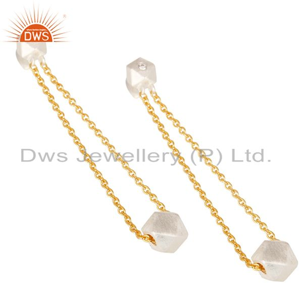 Exporter 18k Gold Plated & Solid Silver Plated Chain Link White Zirconia Brass Earrings