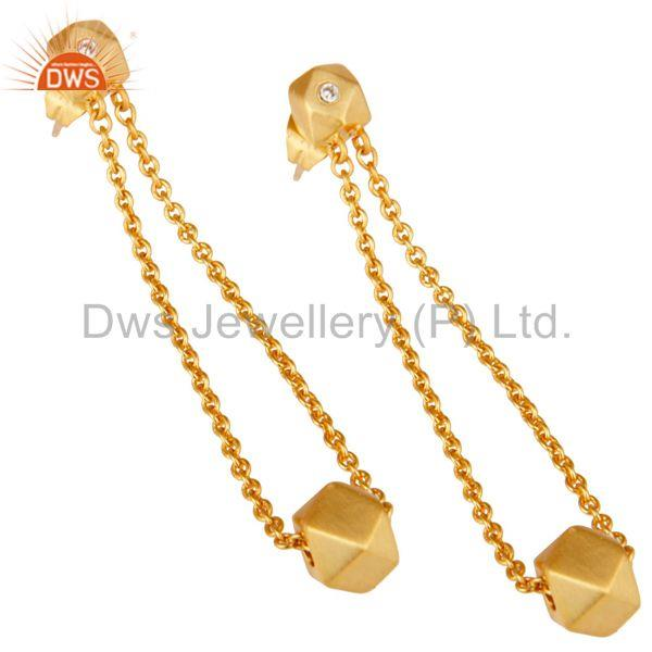 Exporter 18k Yellow Gold Plated Handmade Chain Link White Zirconia Brass Dangle Earrings