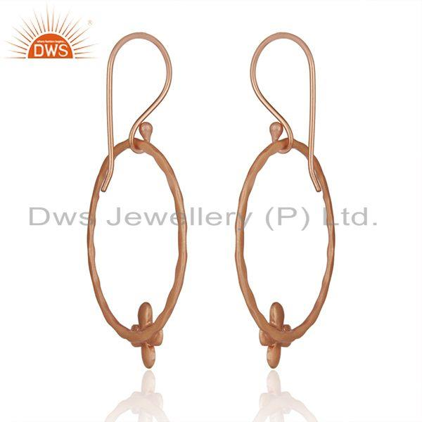 Exporter Rose Gold Plated Brass Fashion Handcrafted Earrings Wholesaler