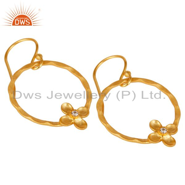 Exporter Traditional Handmade Round Flower Design Brass Earring Made In 14K Gold Plated