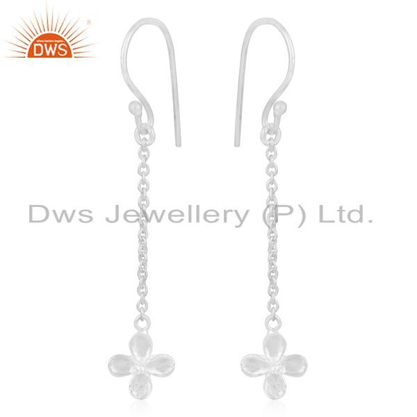 Exporter Fine Silver Plated Brass Leaf Design Chain Earring Manufacturer of Jewellery