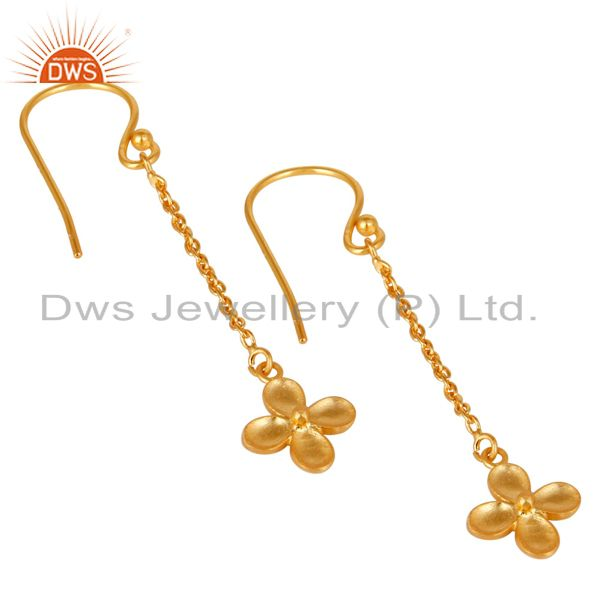 Exporter 14K Gold Plated Traditional Handmade Link Chain Dangle Brass Earrings