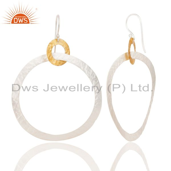Exporter 14K Yellow Gold Plated & Silver Plated Handmade Round Dangle Brass Earrings