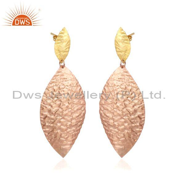 Handmade and handhammered rose gold on brass petal earrings