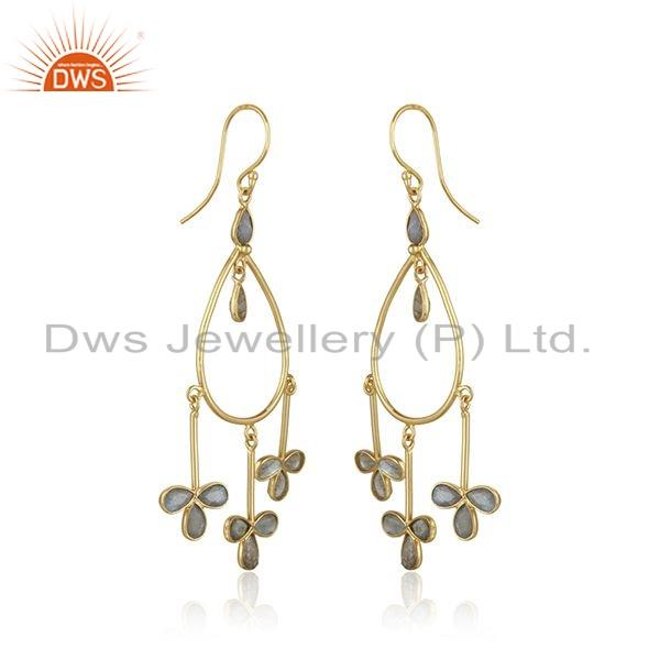Exporter Gold Plated 925 Silver Labradorite Gemstone Earrings Jewelry For Girls