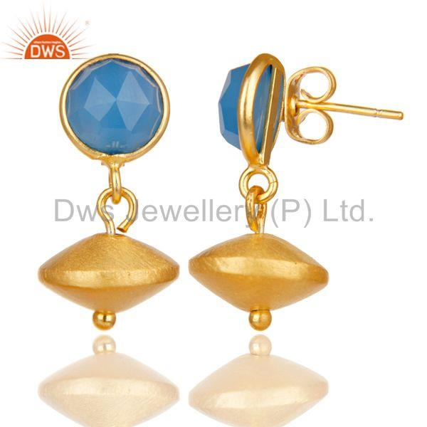 Exporter 14K Yellow Gold Plated Handmade Dyed Blue Chalcedony Gemstone Drops Earrings