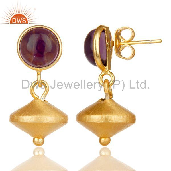Exporter 14K Yellow Gold Plated Handmade Dyed Hydro Amehyst Gemstone Drops Earrings