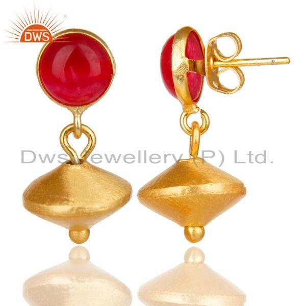 Exporter 14K Yellow Gold Plated Handmade Red Aventurine Gemstone Drops Earrings