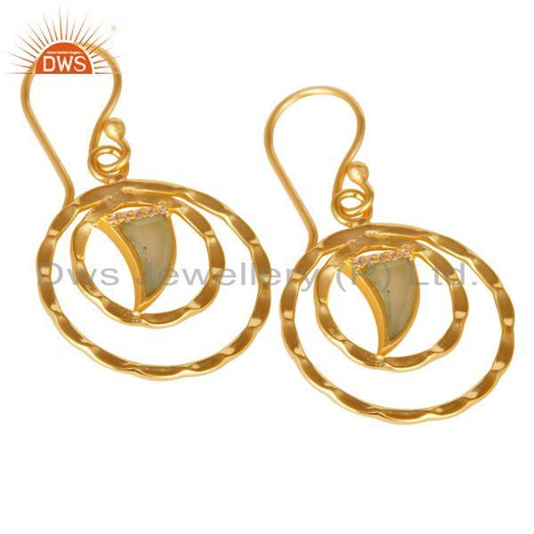 Circle design gold plated 925 silver aqua chalcedony earrings