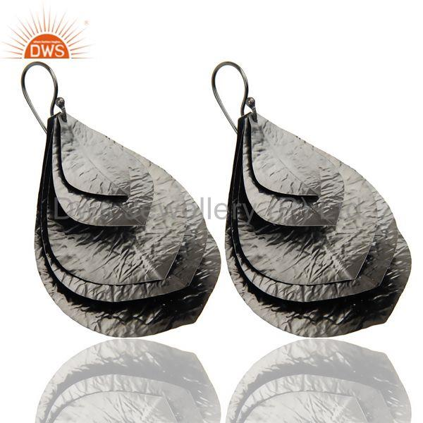Exporter Black Oxidized Traditional Handmade Textured Leaf Design Dangle Earrings