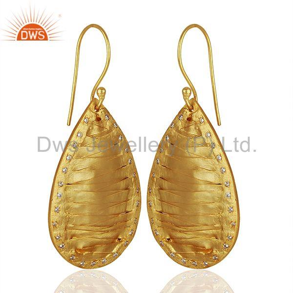 Exporter Pear Shape Handcrafted Brass Gold Plated Fashion Earrings Wholesale