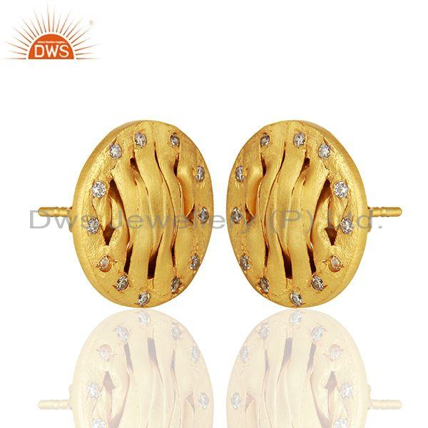 Exporter Handcrafted Brass Gold Plated CZ Fashion Stud Earrings Manufacturer