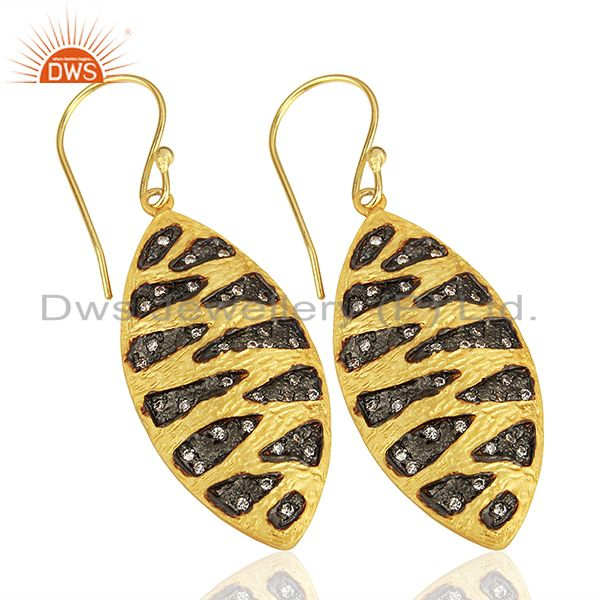 Exporter Two Tone Plated Brass White Zircon Fashion Earrings Manufacturers