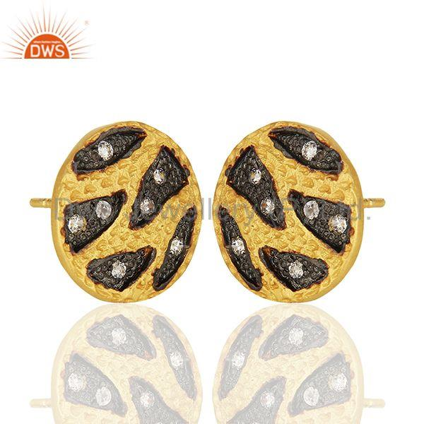 Exporter Handmade Brass Two Tone Fashion Zircon Stud Earrings Manufacturers