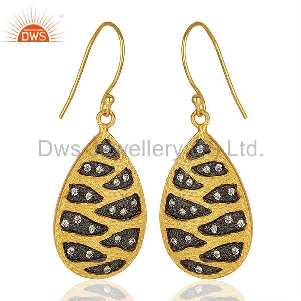 Exporter Handmade Gold Plated Brass Fashion White Zircon Earrings Suppliers