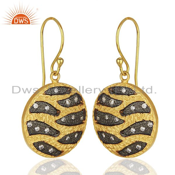 Exporter Round Brass Fashion Gold Plated Cz Gemstone Earrings Manufacturers