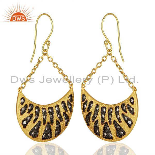 Exporter Handmade Two Tone Cz Gemstone Gold Plated Brass Fashion Earrings