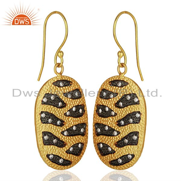 Exporter White Zircon Gold Plated Brass Fashion Girls Earrings Manufacturers