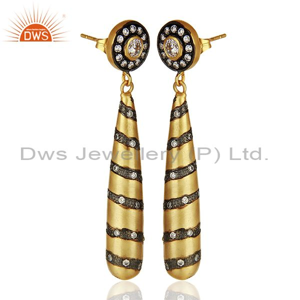 Exporter Pencil Design Brass Gold Plated Zircon Fashion Dangle Earrings Jewelry