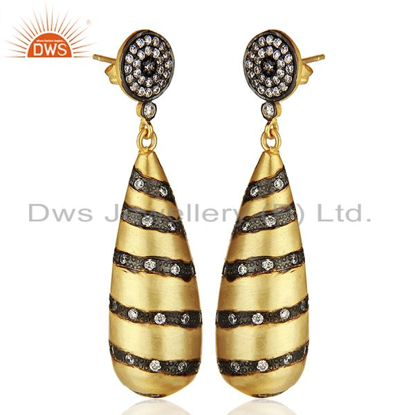 Exporter Designer Brass Gold Plated Fashion Cz Gemstone Earrings Wholesale