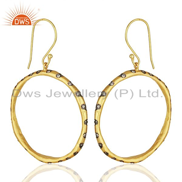 Exporter Round Brass Gold Plated Fashion Cz Gemstone Hoop Earrings Suppliers