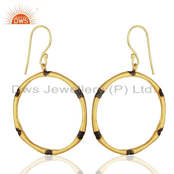 Exporter Handmade Round Brass Fashion Gold Plated Hoop Earrings Supplier