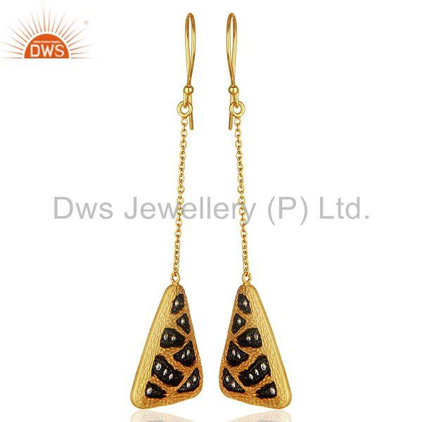 Exporter Multi Color Plated Brass Fashion Cz Gemstone Chain Earrings Jewelry