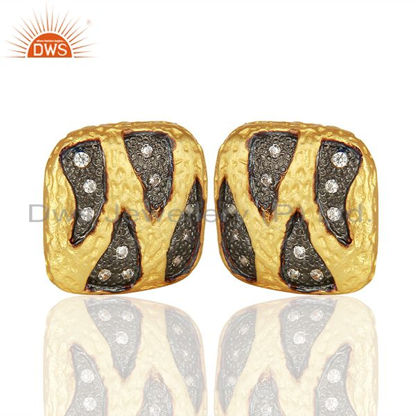Exporter Two Tone Brass White Zircon Fashion Girls Stud Earrings Manufacturers