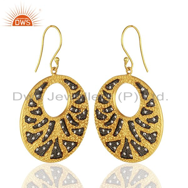 Exporter Handamde Gold Plated Brass Fashion CZ Gemstone Earrings Manufacturer
