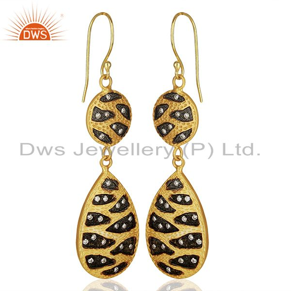 Exporter Indian Handmade Gold Plated Brass Cz Gemstone Fashion Earrings