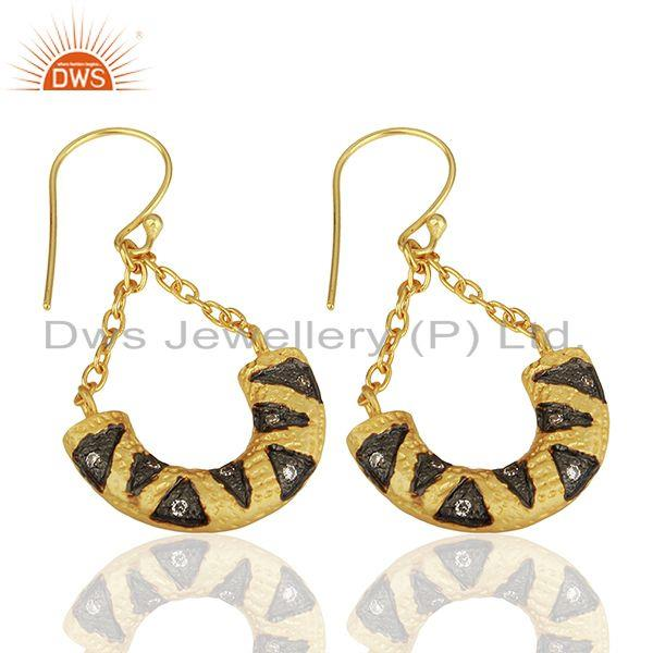 Exporter Designer Gold Plated Cz Gemstone Brass Fashion Chain Earring Wholesale