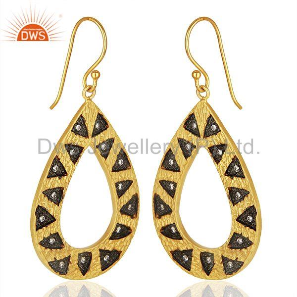 Exporter Wholesale Gold Plated Brass Fashion Cz Gemstone Earring Jewelry