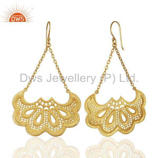 Exporter Filigree Design Brass Gold Plated Fashion Chain Earrings Manufacturer