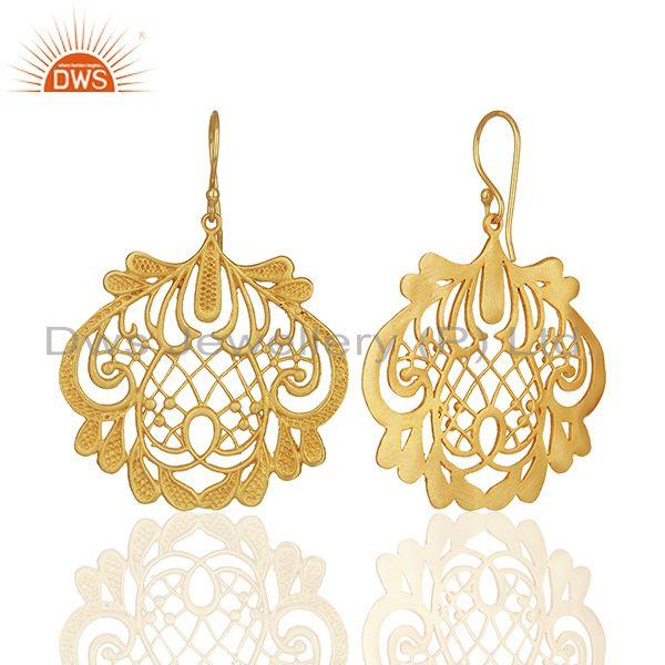 Exporter Wholesale Gold Plated Brass Traditional Earrings Jewelry Manufacturers