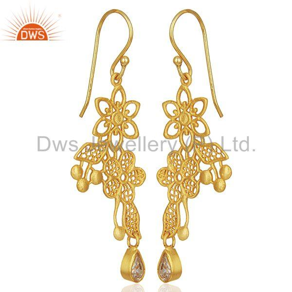 Exporter Lace flower trellis with bezel set semi-precious stone Designer Earring