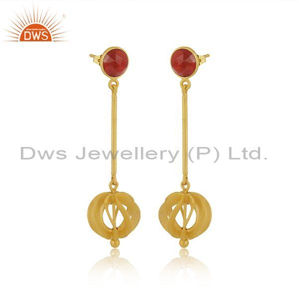 Red onyx set brass gold long drop classic statement earrings