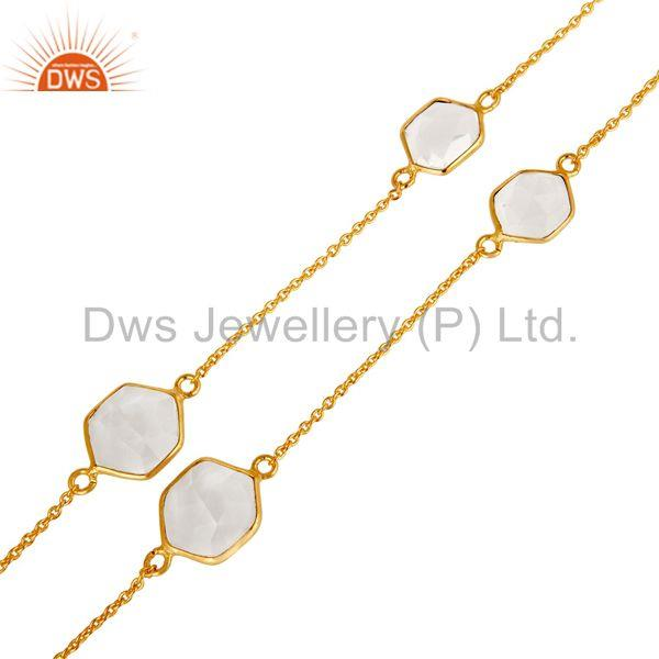 Exporter Traditional Handmade 18K Yellow Gold Plated Crystal Quartz Brass Chain Necklace