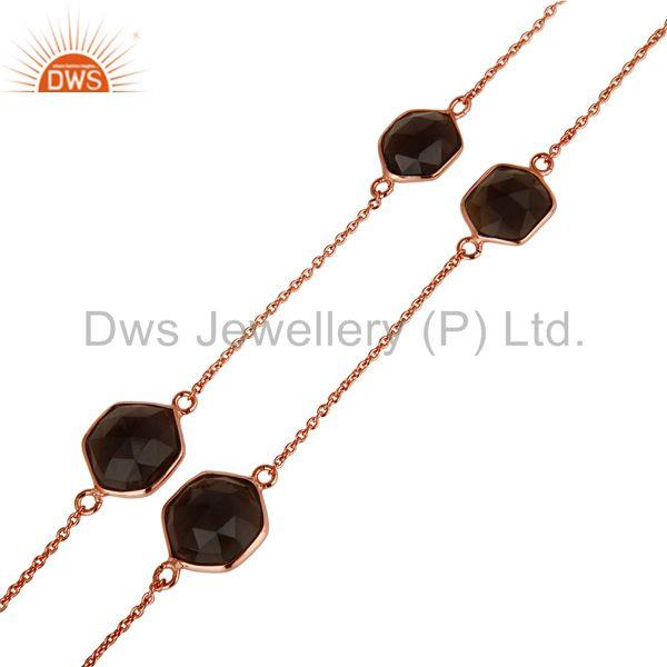 Exporter Traditional Handmade 18K Rose Gold Plated Smokey Topaz Brass Chain Necklace