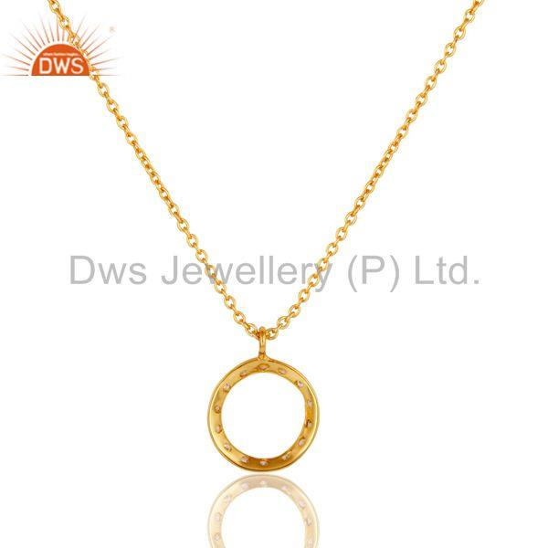 Exporter 18k Gold Plated White Zirconia Round Style Chain Pendant Necklace