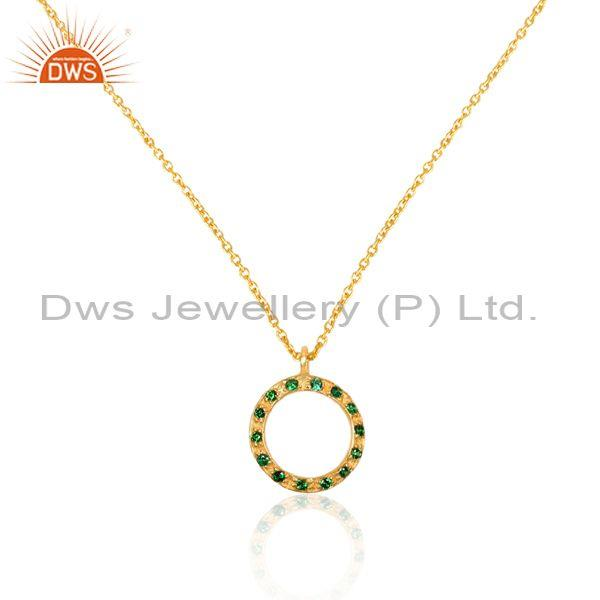 Zircon green set gold on 925 silver round pendant and chain